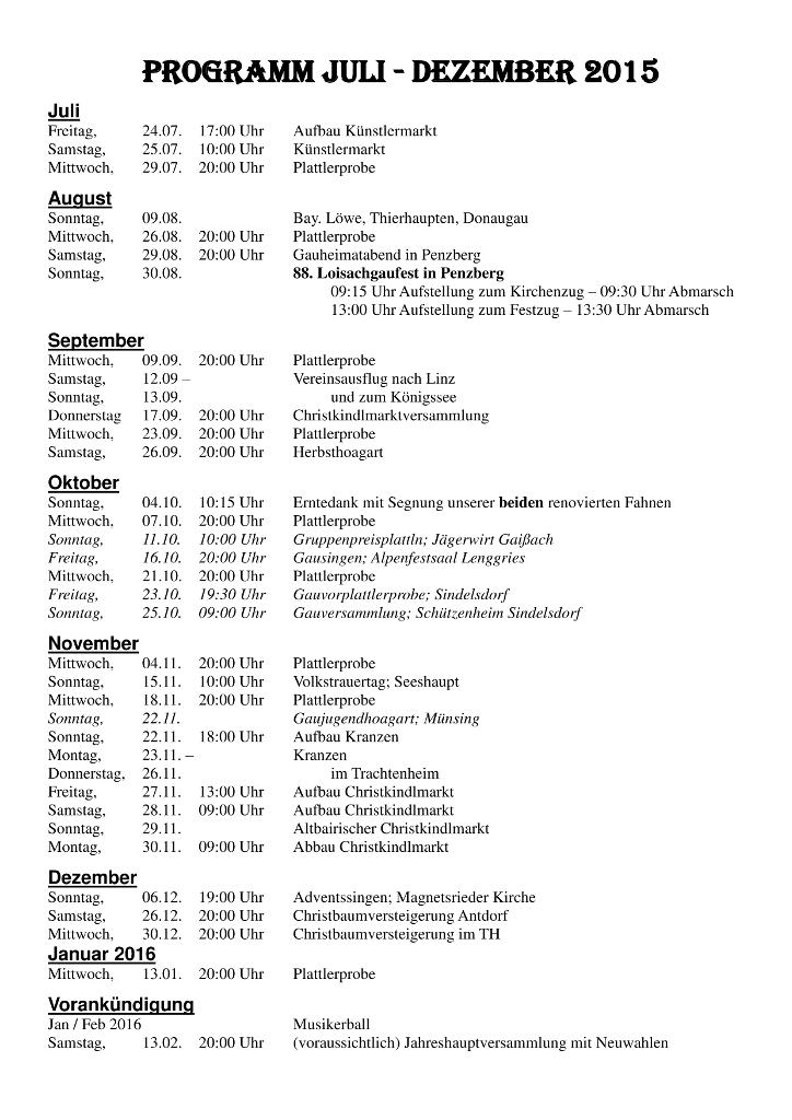 Programm 2. Halbjahr 2015
